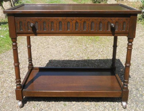 Dark Carved Two Tier Hall Table by Jaycee